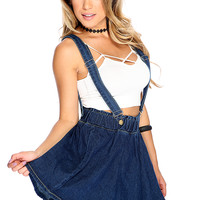 Denim Blue Dark Wash Suspender Skirt