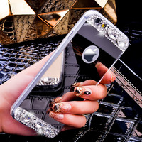 i5 i6 Plus Luxury Mirror Cover Fashion Ultra Thin Bling Crystal Diamond Phone Case For iPhone 5 5S 6 6S 6 6S Plus Women Fashion