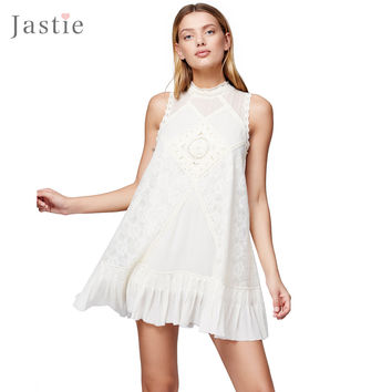 Jastie Women's Angel Lace Dress Backless Boho People Hippie Style Retro Floral Embroidery Robe Crochet Lace summer Dresses