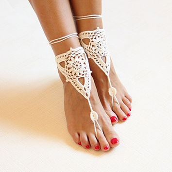 Beach Impress Anklet Victorian Lace Cotton Barefoot Beach Wear