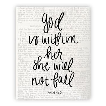 God Is Within Her She Will Not Fall Psalm 46:5 Scripture Hand Lettered Print