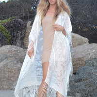 White Wedding Silk Velvet Robe