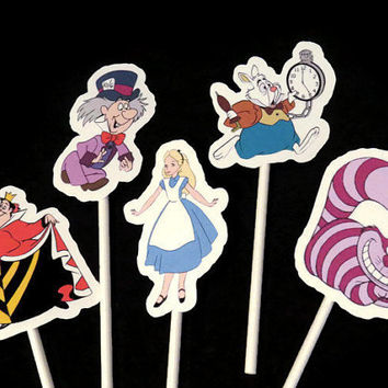 Alice in Wonderland cupcake toppers, 10 cupcake picks kids birthday party decorations,