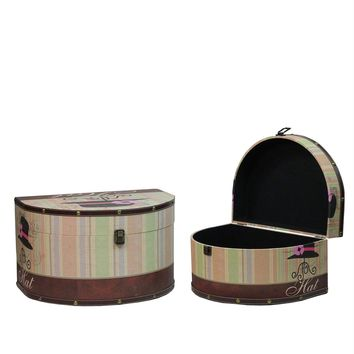Set of 2 Wooden Vintage-Style Decorative Hat Storage Boxes 16.75-20""