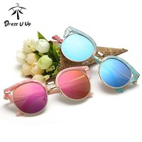 Girls Cat Eye Reflector  Sunglasses With UV 400 Protection