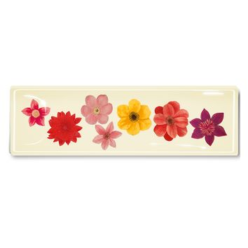 7 Colorful Flowers Decoupage Glass Tray