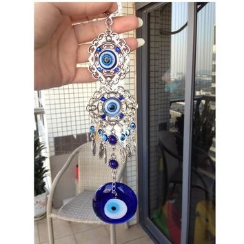 Turkish Evil Blue Eye Glass Charm Metal Wall Hanging Amulet Nazar Boncuk Home Decoration Office Protector Arabic Islamc Nazar