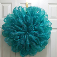 Teal Deco Mesh Wreath, Ready to Decorate, or leave as is, Deco Mesh Wreath