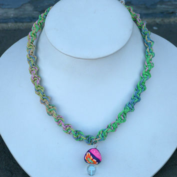 Hemp Necklace with Fimo Glass Mushroom handmade macrame jewelry  womens  girls hippie  unisex