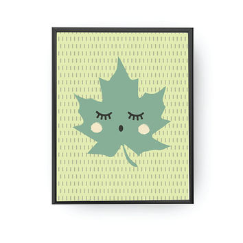 Maple Leaf Green, Leaf Illustration, Kids Print, Cute Plant Art, Kids Room Decor, Educational Poster, Kids Art, Playroom Art, Nursery Decor