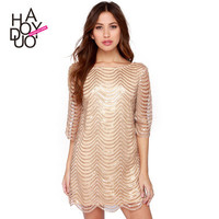 Women's Fashion See Through Lace Hollow Bandage Gold Wave Pattern Party Dress Evening Cocktail Casual Mini One Piece Dress _ 3353