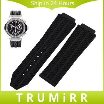Convex Silicone Rubber Watchband 26mm x 19mm for Hublot Big Bang Men's Watch Band Replacement Strap Wrist Bracelet Black White
