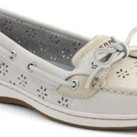 Sperry Top-Sider Angelfish Floral Perf Leather Boat Shoe WhitePerfLeather, Size 10M  Women's Shoes