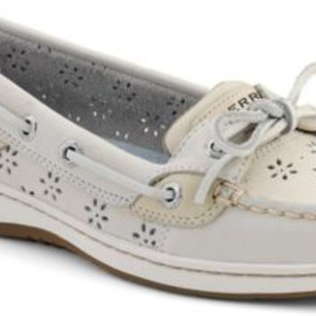 Sperry Top-Sider Angelfish Floral Perf Leather Boat Shoe WhitePerfLeather, Size 8.5M  Women's Shoes