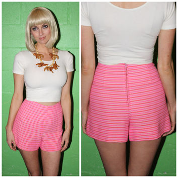 Vintage 70s HIGH WAISTED Shorts, BUBBLEGUM Pink Striped Roller Girl Hot Shorts