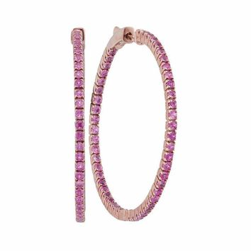 14kt Rose Gold Women's Round Pink Sapphire Inside Outside Hoop Earrings 2-7-8 Cttw - FREE Shipping (USA/CAN)