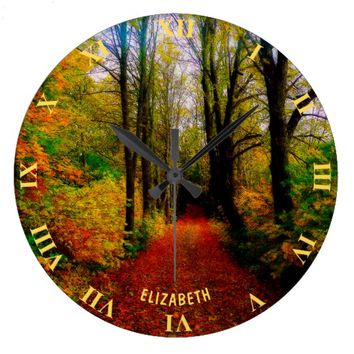 Old Fall Forest And Road Moody Retro Style Large Clock
