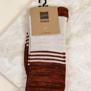 Three Stripe Heather Sock, Rust