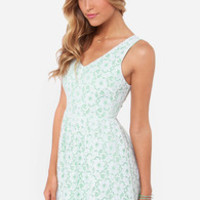 Where Flowers Grow Mint and Ivory Lace Dress