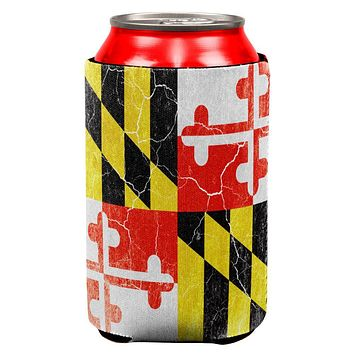 Maryland Vintage Distressed State Flag All Over Can Cooler