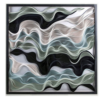 Large Abstract Paper Textile Art  - Ivory / Blue / Green