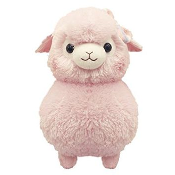 "AMUSE Alpacasso Fuwamoko Ribbon BIG Pink - Alpaca Plush 15"" height - Authentic Kawaii from Japan"