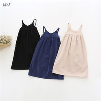 MAKA KIDS Girls Dress Summer Sleeveless Long Dress So Pretty~Black Blue Beige suspender dress Sleep Dresses Toddler Girls Cotton