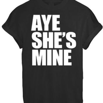 AYE HE#039;S SHE#039;S MINE MICKEY MOUSE HAND PRINTED t shirt Top Tee size XS S M L XL - BLACK
