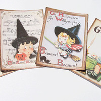 Kitschy Witch Tags - Set of 4 - Mid Century Tags - Halloween Tags - Little Witch Tags - Cute Halloween - Vintage Look - Holiday Tags