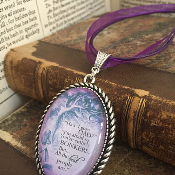 Purple Alice Bonkers Special Edition Statement pendant and ribbon