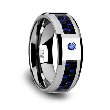 Blue Diamond Wedding Band - Tungsten Ring - Silver and Blue Tungsten - Blue Carbon Fiber - Beveled Edge - Tungsten Wedding Band - 8mm