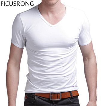 FICUSRONG Men's Tops Tees 2017 summer new cotton v neck short sleeve t shirt men fashion trends fitness t shirt free shipping