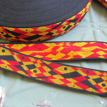 Vintage Woven Jacquard Ribbon, Tribal Geometric,Harlequin Jacquard Ribbon, Black, Red and Yellow Woven Jacquard Ribbon