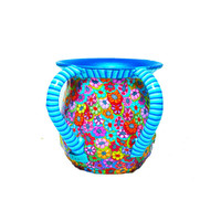 Washing cup handmade with blue stripes, Judaica art Turquoise and blue