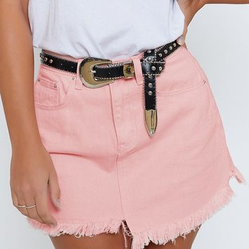Burleigh Denim Skirt Pink