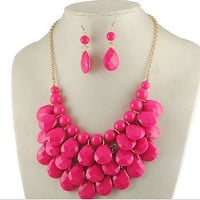 Pink Statement Necklace & Earring Set by 21mainstreet on Etsy