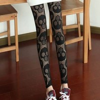 Harajuku Skull Hollow Out Sexy Lace Leggings - Black or White from Tobi's Finds