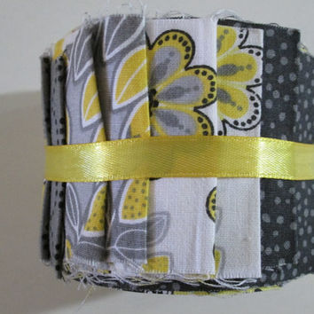 Black and Yellow Jelly Roll, Cotton Fabric, Jelly Roll, Black Paisley, Floral, Funky, 2.5 in Strips