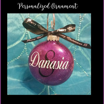 Personalized Christmas Ornament - Custom Name Glitter Xmas Tree Ornament Hanging Bauble with Ribbon 19 Color Choices