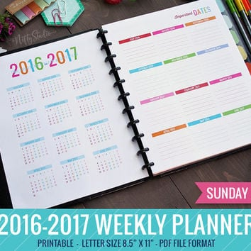 2016 - 2017 Weekly Horizontal Planner SUNDAY Start PRINTABLE PDF File | Weekly Planner | Monthly Planner | Student Planner Academic Planner