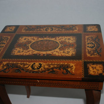 Table Italian Inlaid Wood With Box Small Accent