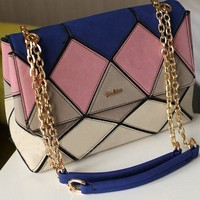 Summer Suede Leather Colorblocked Satchel for Women