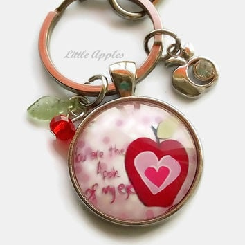 You are the apple of my eye, glass keychain, charm necklace, teacher thank you gift, affirmation gift, apple pendant, appreciation