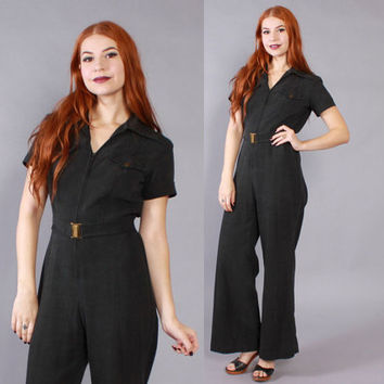 Vintage 70s JUMPSUIT / 1970s Black Cotton Zip Front Bell Bottom Coveralls
