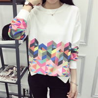 Geometric Pattern Printing Loose Hoodies Sweater Pullover Long Sleeve for Women Teen Girls Student