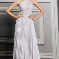 Soft Gray Halter Long Formal Prom Evening Dress | DQ831258