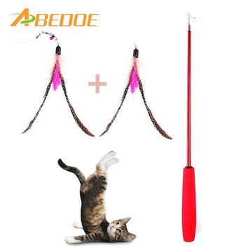 ABEDOE Retractable Teaser Cat Catcher Fishing Pole Wand Rod with 2pcs Large Assorted Feather Toy Great for Kitten Dog
