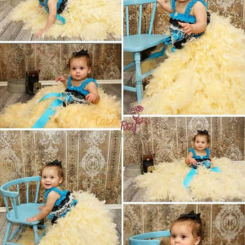 First Birthday tutu, feather dress, flower girl dress, floor length feather dress, tutu feather dress, Birthday tutu dress, fluffy feather