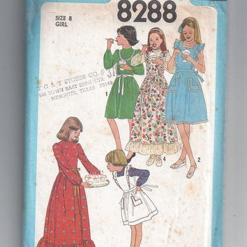 Simplicity 8288 Pattern for Girls' Dress, Pinafore and Sundress, Size 8, From 1977