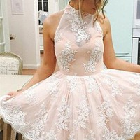 Baby Pink Halter Strapless Homecoming Dress